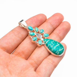 "Natural Amazonite,Turquoise And Blue Topaz Handmade 925 Sterling Silver Pendant 2.25"" D3083"