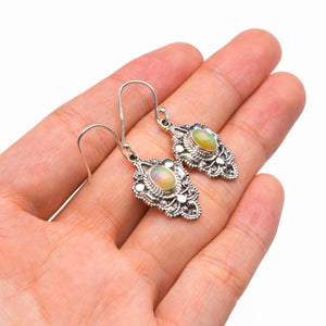 "StarGems Natural Opal Handmade 925 Sterling Silver Earrings 1.5"" D3939"