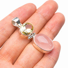 "StarGems Natural Rose Quartz And Green Amethyst Handmade 925 Sterling Silver Pendant 1.75"" D5460"