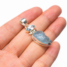 "StarGems Natural Rough Aquamarine And Blue Topaz Handmade 925 Sterling Silver Pendant 1.5"" D6335"
