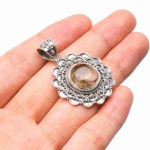 "StarGems Natural Golden Rutile Handmade 925 Sterling Silver Pendant 1.5"" D6354"