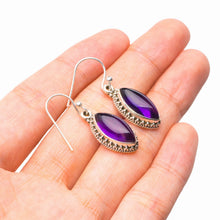"StarGems Natural Amethyst Handmade 925 Sterling Silver Earrings 1.25"" D7168"