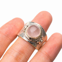 StarGems Natural Rose Quartz Opening Handmade 925 Sterling Silver Ring 8.5 D8247