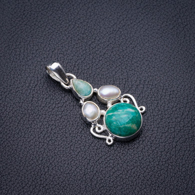Natural Amazonite And River Pearl Handmade 925 Sterling Silver Pendant 1.5