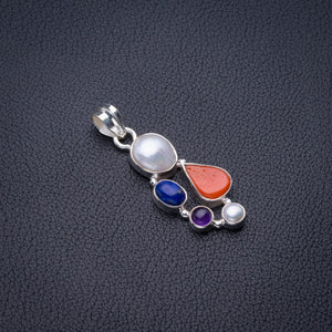 "Natural Biwa Pearl,Amethsyt,Lapis Lazuli And Red Coral Handmade 925 Sterling Silver Pendant 1.75"" D2721"