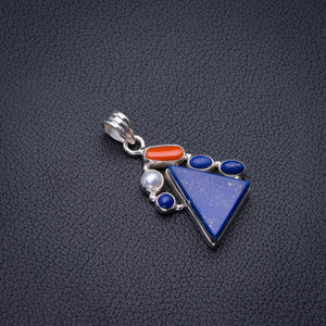 "Natural Lapis Lazuli,Red Coral And River Pearl Handmade 925 Sterling Silver Pendant 1.5"" D2756"