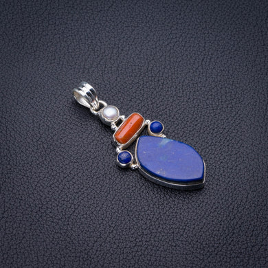 Natural Lapis Lazuli,Red Coral And River Pearl Handmade 925 Sterling Silver Pendant 2