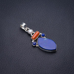"Natural Lapis Lazuli,Red Coral And River Pearl Handmade 925 Sterling Silver Pendant 2"" D2757"