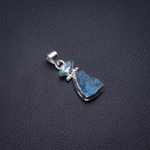 "Natural Rough Aquamarine And Blue Topaz Handmade 925 Sterling Silver Pendant 1.5"" D2792"