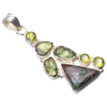 "StarGems Natural Chrysocolla,Peridot And Green Amethyst Handmade 925 Sterling Silver Pendant 2"" E0175"