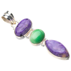"StarGems Natural Charoite And Green Opal Handmade 925 Sterling Silver Pendant 2"" E0397"