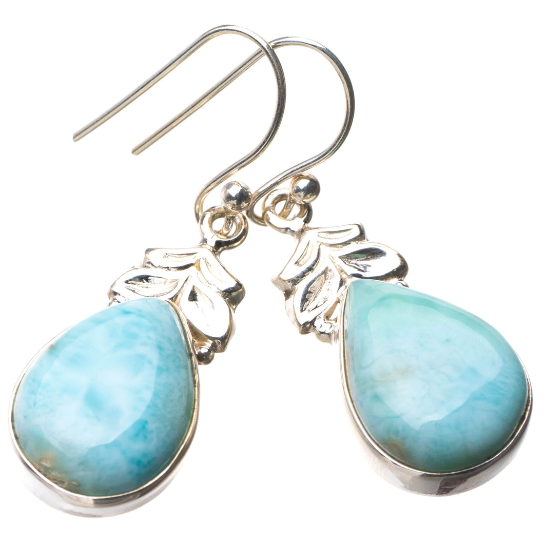 StarGems Natural Caribbean Larimar Handmade 925 Sterling Silver Earrings 1.5