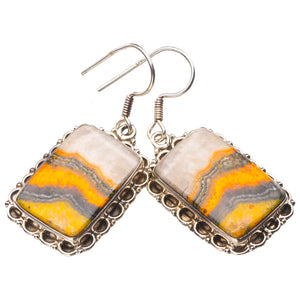 "StarGems Natural Bumble Bee Jasper Handmade 925 Sterling Silver Earrings 1.5"" E1636"