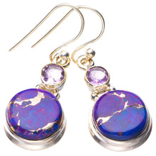 "StarGems Natural Copper Turquoise And Amethyst Handmade 925 Sterling Silver Earrings 1.5"" E1764"