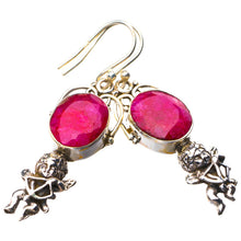 "StarGems Natural Cherry Ruby Angle Handmade 925 Sterling Silver Earrings 1.75"" E1771"