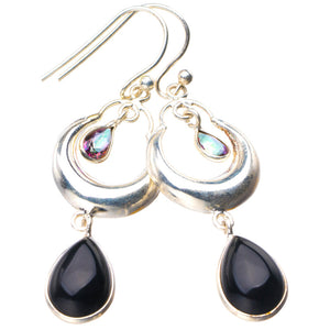 "StarGems Natural Black Onyx And Mystical Topaz Handmade 925 Sterling Silver Earrings 2"" E1833"