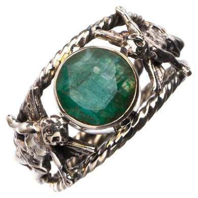 StarGems Natural Emerald Angle Handmade 925 Sterling Silver Ring 7.25 E2699