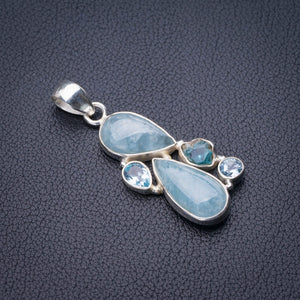 "StarGems Natural Milky Aquamarine,Apatite And Blue Topaz Handmade 925 Sterling Silver Pendant 2"" E0001"