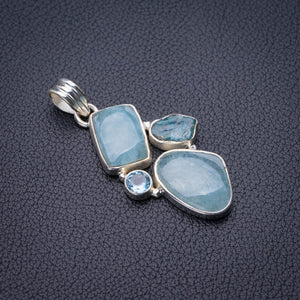 "StarGems Natural Milky Aquamarine,Apatite And Blue Topaz Handmade 925 Sterling Silver Pendant 1.75"" E0003"
