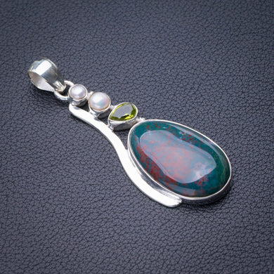 StarGems Natural Blood Stone,Peridot And River Pearl Handmade 925 Sterling Silver Pendant 2.25