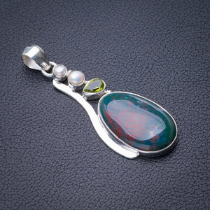 "StarGems Natural Blood Stone,Peridot And River Pearl Handmade 925 Sterling Silver Pendant 2.25"" E0107"
