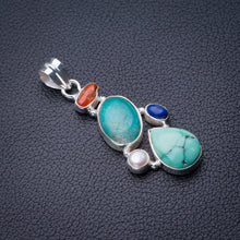 "StarGems Natural Turquoise,Red Coral,River Pearl And Lapis Lazuli Handmade 925 Sterling Silver Pendant 2"" E0140"