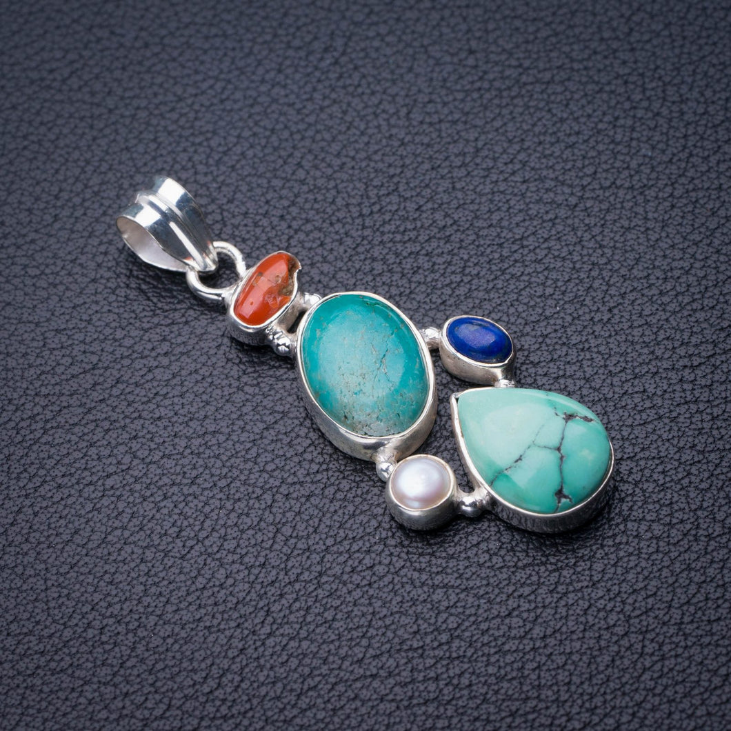 StarGems Natural Turquoise,Red Coral,River Pearl And Lapis Lazuli Handmade 925 Sterling Silver Pendant 2