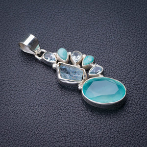 "StarGems Natural Chalcedony,Blue Topaz,Rough Aquamarine And Amazonite Handmade 925 Sterling Silver Pendant 2"" E0159"