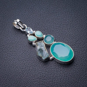 StarGems Natural Chalcedony,Blue Topaz,Rough Aquamarine And Amazonite Handmade 925 Sterling Silver Pendant 2E0160