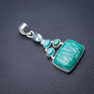 "StarGems Natural Amazonite,Turquoise And Blue Topaz Handmade 925 Sterling Silver Pendant 2"" E0180"