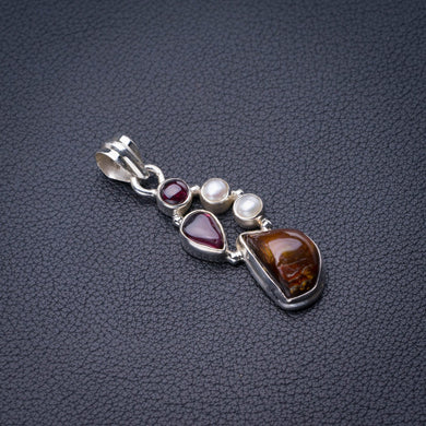 StarGems Natural Garnet,Amethyst And River Pearl Handmade 925 Sterling Silver Pendant 1.75