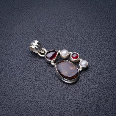 StarGems Natural Garnet,Amethyst And River Pearl Handmade 925 Sterling Silver Pendant 1.5