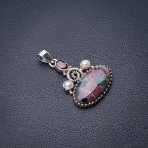 "StarGems Natural Eudialite,Garnet And River Pearl Handmade 925 Sterling Silver Pendant 1.75"" E0236"