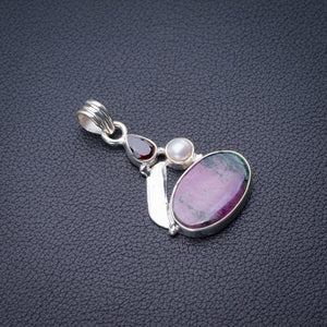 "StarGems Natural Ruby Zoisite,Garnet And River Pearl Handmade 925 Sterling Silver Pendant 1.75"" E0238"