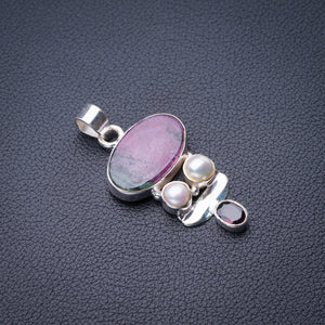 "StarGems Natural Ruby Zoisite,Garnet And River Pearl Handmade 925 Sterling Silver Pendant 1.75"" E0239"