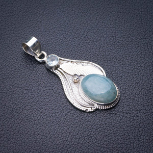 "StarGems Natural Milky Aquamarine,Blue Topaz Feather Handmade 925 Sterling Silver Pendant 2"" E0399"