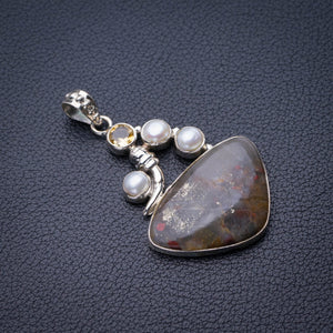 "StarGems Natural Cuprite Blood Stone,River Pearl And Citrine Handmade 925 Sterling Silver Pendant 2"" E0408"