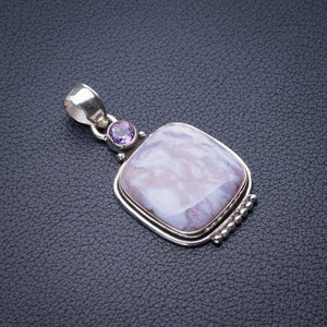 "StarGems Natural Cuprite Blood Stone And Amethyst Handmade 925 Sterling Silver Pendant 1.75"" E0424"