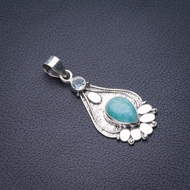 StarGems Natural Milky Aquamarine And Blue Topaz Handmade 925 Sterling Silver Pendant 2