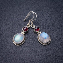 "StarGems Natural Rainbow Moonstone And Amethyst Handmade 925 Sterling Silver Earrings 1.5"" E0703"