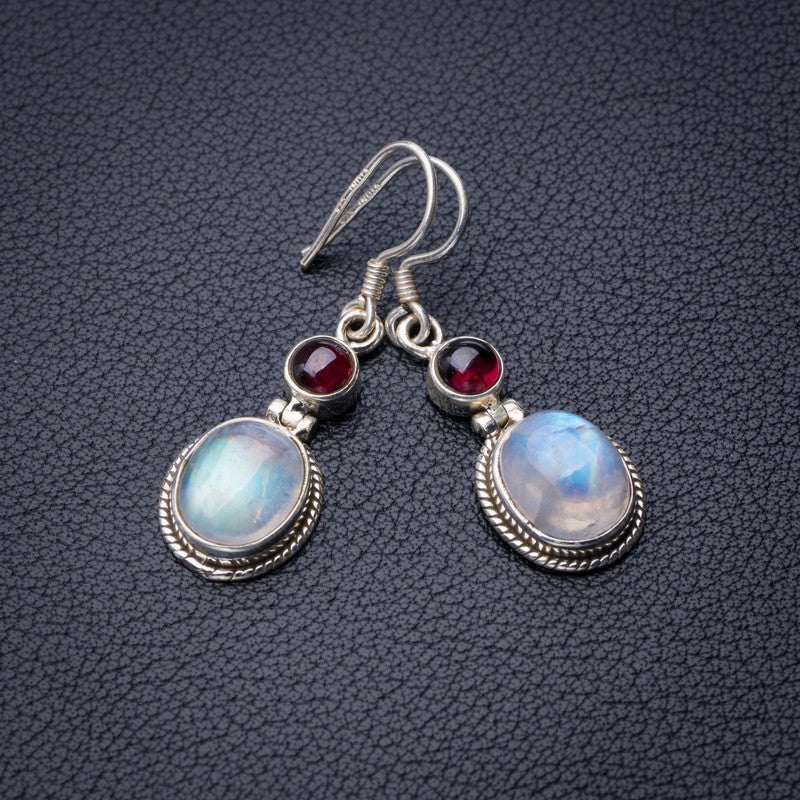StarGems Natural Rainbow Moonstone And Amethyst Handmade 925 Sterling Silver Earrings 1.5