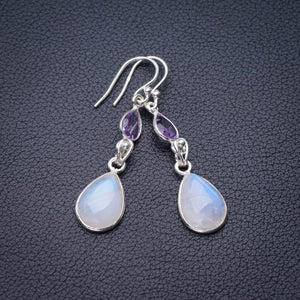 "StarGems Natural Rainbow Moonstone And Amethyst Handmade 925 Sterling Silver Earrings 1.75"" E0875"
