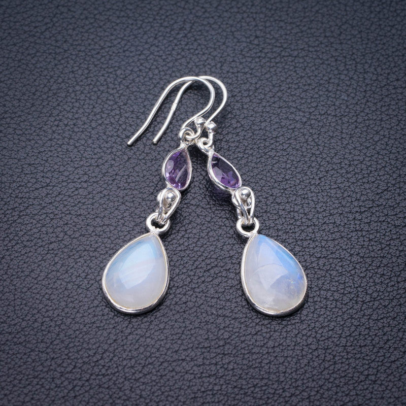StarGems Natural Rainbow Moonstone And Amethyst Handmade 925 Sterling Silver Earrings 1.75