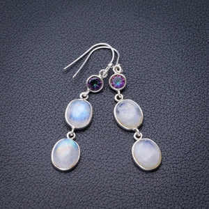 "StarGems Natural Rainbow Moonstone And Mystical Topaz Handmade 925 Sterling Silver Earrings 2"" E0891"