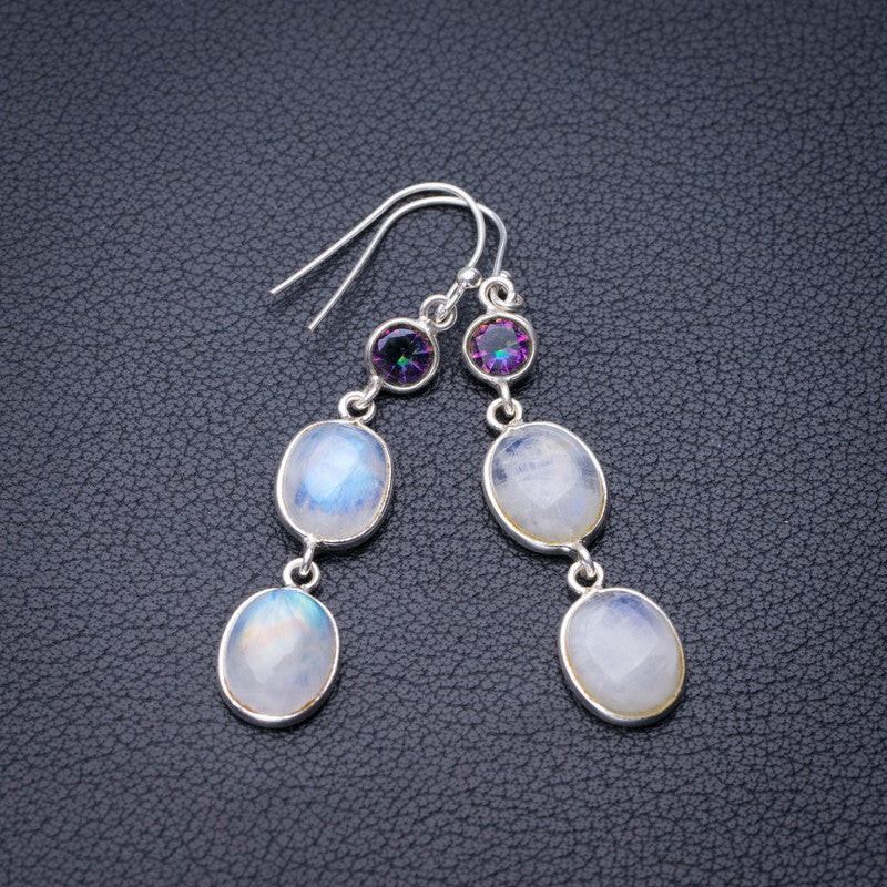 StarGems Natural Rainbow Moonstone And Mystical Topaz Handmade 925 Sterling Silver Earrings 2