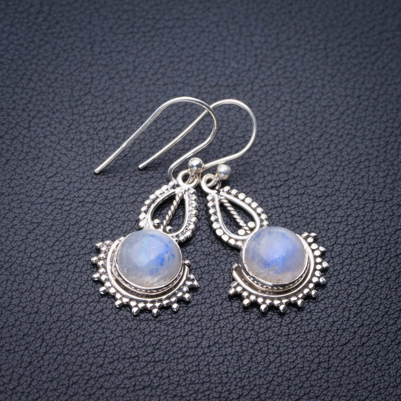 StarGems Natural Rainbow Moonstone Handmade 925 Sterling Silver Earrings 1.25