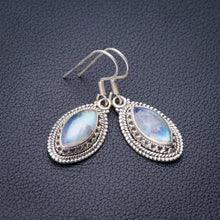"StarGems Natural Rainbow Moonstone Handmade 925 Sterling Silver Earrings 1.5"" E1490"