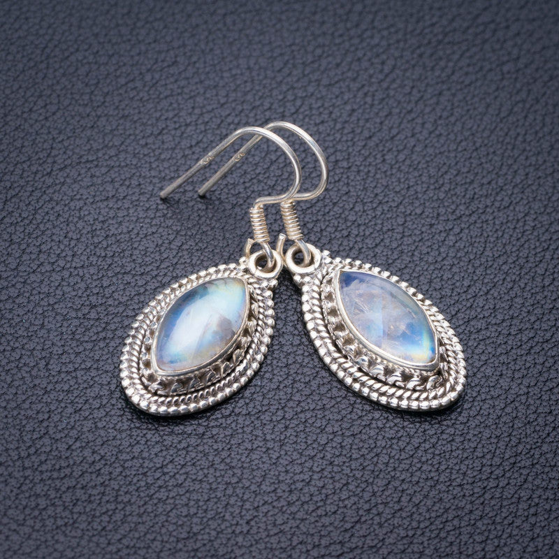 StarGems Natural Rainbow Moonstone Handmade 925 Sterling Silver Earrings 1.5