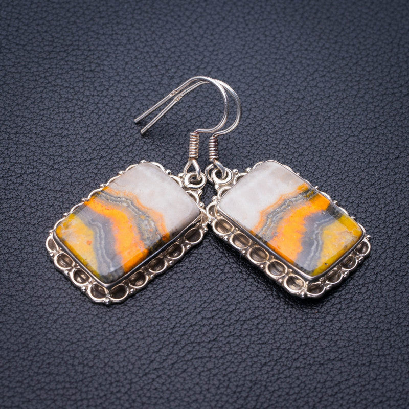 StarGems Natural Bumble Bee Jasper Handmade 925 Sterling Silver Earrings 1.5