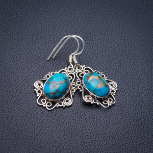 "StarGems Natural Copper Turquoise Handmade 925 Sterling Silver Earrings 1.5"" E1738"